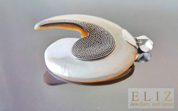 925 Sterling Silver Huge Pendant Natural Indonesian Kundalini Energy Ocean Shell 75 mm
