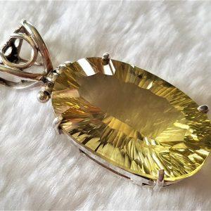 Large Lemon Quartz Sterling Silver 925 Pendant Genuine Lemon Quartz Oval Shape Concave Cut Gift Yelow Gold Gemstone