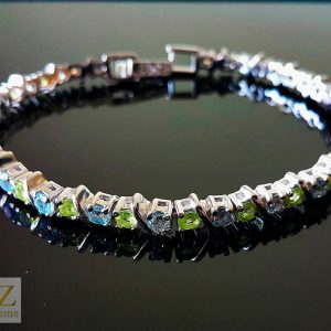 925 Sterling Silver Genuine Peridot Blue Topaz Tennise Bracelet Natural Gemstones 7,5 inches