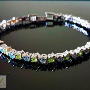 925 Sterling Silver Genuine Peridot Blue Topaz Tennise Bracelet Natural Gemstones 7,5 inches