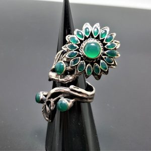925 Sterling Silver Chrysoprase Ring Sun flower Green Agate Gemstone Unique Sunflower Gift Adjustable Ring