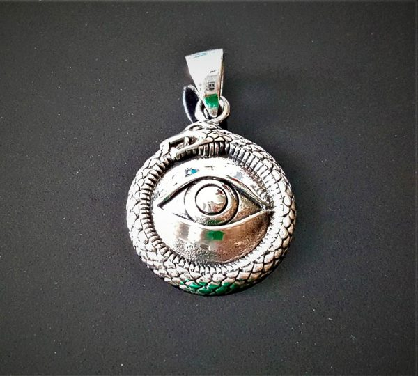 Ouroboros All Seeing Eye PENDANT STERLING SILVER 925 Ancient Symbol All Seeing Eye Snake Eating Tale Talisman Amulet