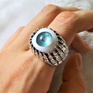 STERLING SILVER 925 All Seeing Eye Ring Resin Eye Evil Eye Talisman Amulet Ancient Symbol Occult
