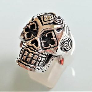 Sterling Silver Skull Tribal Fleur De Lis Skull Ring Biker Rock Heavy 27 grams Exclusive Design