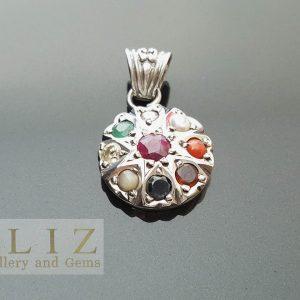 Eliz 925 Sterling Silver Multi Stones Genuine Ruby Emerald Sapphire Garnet Pearl, Lemon Quartz & CZ Amulet Sun Symbol Natural Gemstones