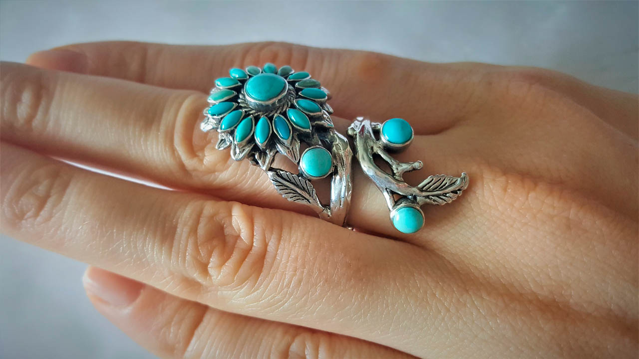 925 Sterling Silver Turquoise Ring Sun flower Unique ...