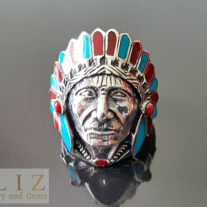American Indian 925 Sterling Silver Ring Cherokee Chief Feather biker goth punk rocker