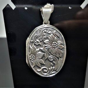 STERLING SILVER 925 Flower Locket Pendant Floral Design Picture Frame Talisman Amulet Good Luck Gift ELIZ