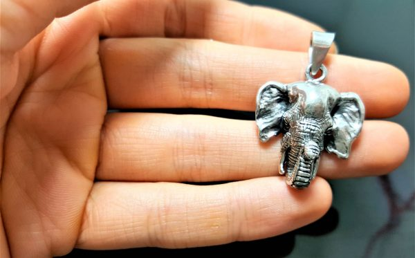 925 Sterling Silver Elephant Pendant African Animal Good Luck Talisman Amulet Exclusive Gift