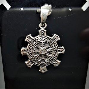 925 Sterling Silver Pendant Helm of Awe Aegishjalmur Elder Futhark VALKNUT Viking Amulet Talisman Sacred Symbol Norse Mythology