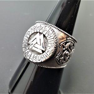 925 Sterling Silver Valknut Ring Sacred Runes Viking Norse Interlocked Triangles Dragon Spiritual Talisman Amulet