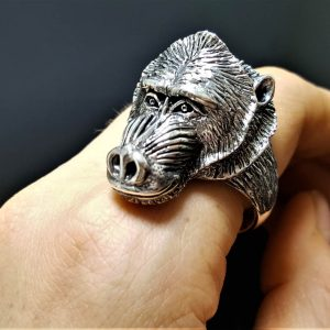 925 Sterling Silver Baboon Ring Primate Totem Animal Unique Excluisve Design Heavy 25 Grams ELIZ