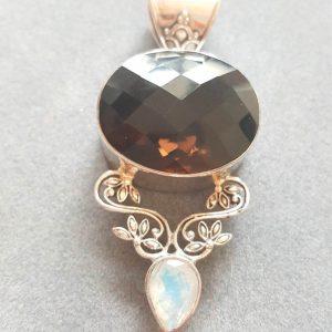 Sterling Silver Pendant Genuine Smoky Quartz with Moon Stone