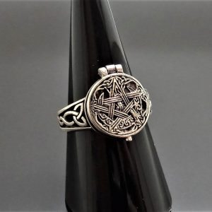 925 Sterling Silver Ring Locket Pentagram Star Trinity Celtic Knot Sacred Symbols Talisman Protective Amulet Occult Secret Compartment