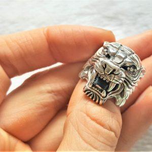 TIGER Ring 925 Sterling Silver 3D Tiger Big Cat Animal Ring UNISEX Biker Punk Rocker Exclusive Design Talisman Animal Heavy