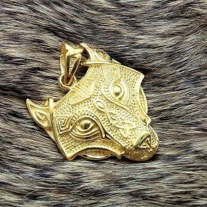 Fenrir Wolf Pendant STERLING SILVER 925 22 k Gold Plated Celtic Amulet Viking Jewelry Scandinavian Talisman