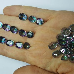 Loose Mystic Topaz 10 pcs LOT Genuine Gemstones Calibrated Multi Color 8x10 mm OVAL Concave Cut Stone Faceted
