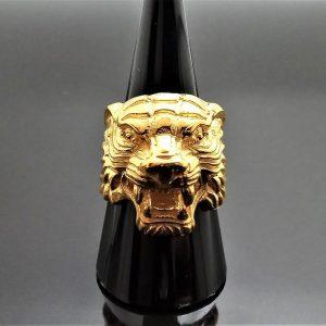 Tiger 925 Sterling Silver Ring Big Cat 22 K Gold Plated UNISEX Handmade Biker Punk Rocker Exclusive Design Talisman Animal 16 grams