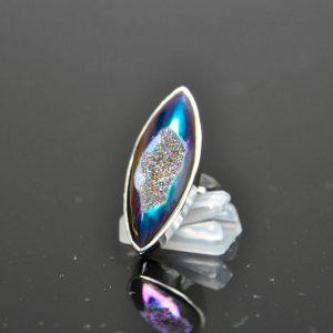 Titanium Aura Druzy Agate Sterling Silver 925 Ring Quartz SIZE 6