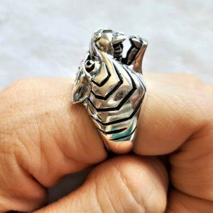 TIGER RING 925 Sterling Silver Tiger Biker Punk Rocker Heavy 19 grams Exclusive Design Talisman Animal Totem