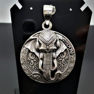 Elephant Pendant 925 Sterling Silver Great Ganesha Wisdom Lord of Success Wealth Ohm Aum Talisman Amulet Spiritual Guidance Heavy 22 grams