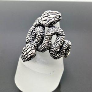 SNAKE 925 Sterling Silver Ring Double Snake Viper Biker goth punk rocker Large Snake Exclusive Design