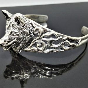 Wolf 925 Sterling Silver Bracelet Brutal Wolf Cuff Totem Animal Punk Rocker Biker Goth Exclusive Design Handmade 40 grams