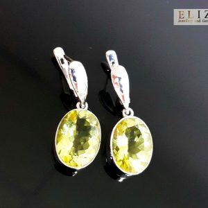 Sterling Silver 925 Earrings Natural Lemon Quartz