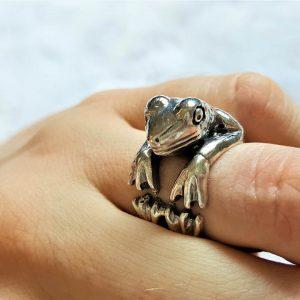 Frog 925 Sterling Silver Ring Handmade Frog Animal Ring Good Luck Ring Talisman Amulet Exclusive Design Adjustable