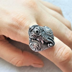925 Sterling Silver Elephant Ring Great Ganesha Blessing Lord of Success Wealth Wisdom Ohm Aum Ganesh Talisman Amulet Good Luck Ohm Symbol