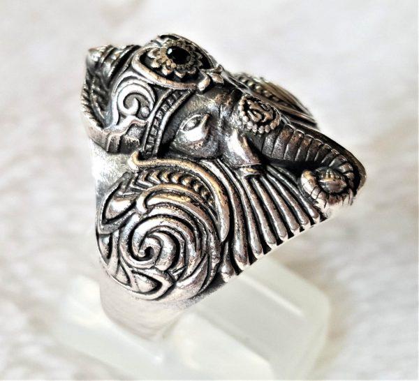 925 Sterling Silver Elephant Ring Great Ganesha Blessing Lord of Success Wealth Wisdom Ohm Aum Ganesh Talisman Amulet Good Luck Ohm Symbol