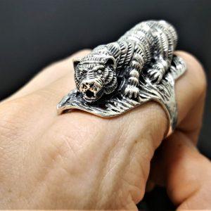 Tiger 925 Sterling Silver Ring 3D Tiger Big Cat UNISEX Lion Jaguar Tiger Panther Biker Punk Rocker Exclusive Design Talisman Animal Heavy 24 grams ELIZ