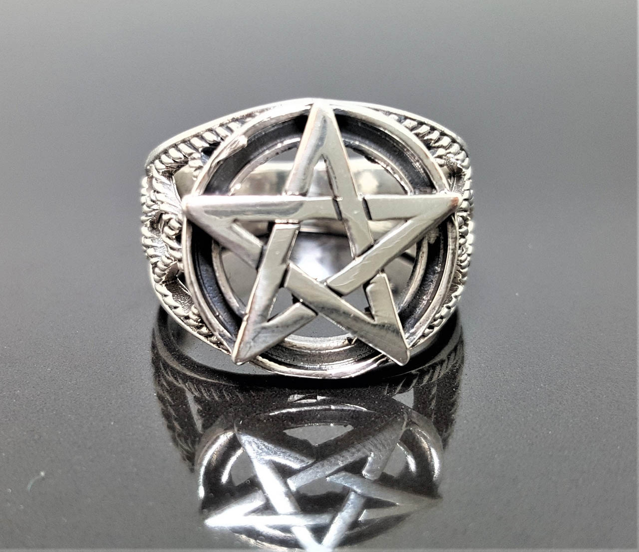 Pentagram Ring STERLING SILVER 925 Star Pentacle Sacred Symbols 5 pointed star Talisman Protective Amulet Exclusive Gift