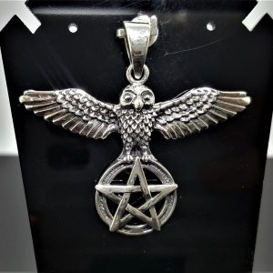 STERLING SILVER 925 Owl Pentagram Pendant Pentacle Five Pointed Star Occult Symbols Totem Animal Talisman Amulet