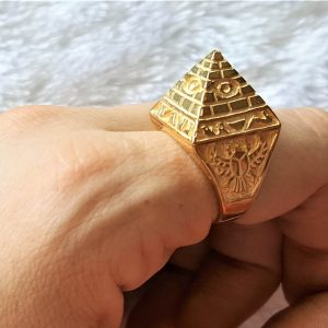 Egyptian Pyramid 925 Sterling SILVER Ring All Seeing Eye Pyramid SACRED SYMBOLS Scarab Ring Ancient Talisman Amulet 22K Gold Plating