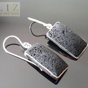 Lava Sterling Silver 925 EARRINGS Natural Volcanic Lava Energy Crystal Essential oil diffuser