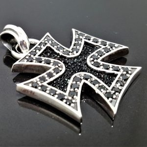 Cross STERLING SILVER 925 Pendant Black Onyx Stingray Cross Iron Cross Exclusive Design Gift for him