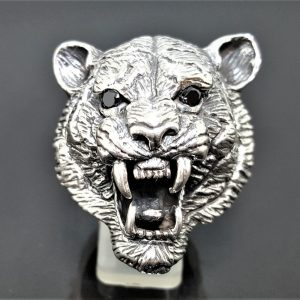 Tiger STERLING SILVER 925 Ring Saber-Toothed Tiger Fangs Black Onyx Eyes Big Cat Large Heavy 33 grams
