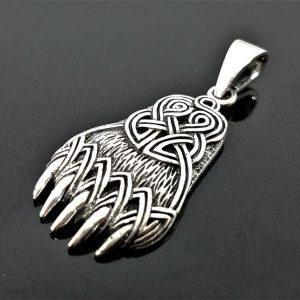 Bear Paw Sterling Silver 925 Pendant Celtic Viking Bear Paw Claw Slavic Warding Veles Talisman Amulet