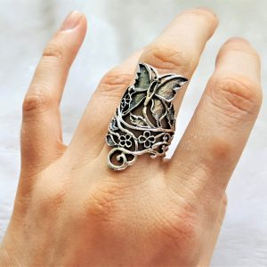 Butterfly STERLING SILVER 925 Ring Flowers Spring Bouquet Handmade Exclusive Design