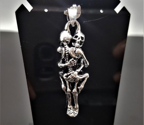 Hugging Skeletons 925 Sterling Silver Pendant Hug Love Skull Punk Goth Rock Biker Exclusive Design Valentine Gift