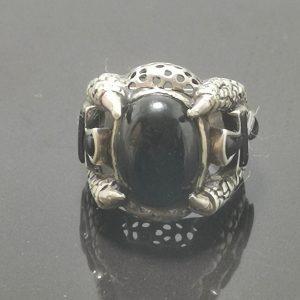 925 Sterling Silver Onyx Ankh Ring Eliz