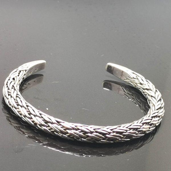 Bracelet 925 Sterling Silver Braided Cuff Bracelet