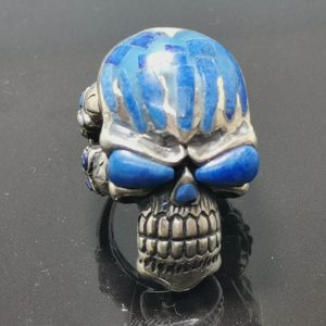 925 Sterling Silver Lapis Lazuli Skull Ring
