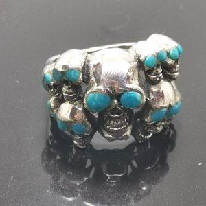 Skulls 925 Sterling Silver Ring Huge Skull Nugget Turquoise Ring Biker Rock Goth Punk 17 Grams