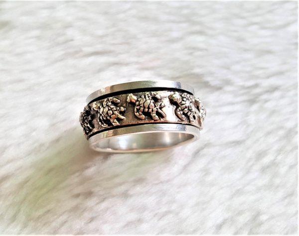 Turtle Spinner Ring 925 Sterling Silver Sea Ocean Tortoise Unisex Ring Spinner Harmony Anti Stress Fidget Meditation Kinetic