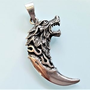 Wolf Fang STERLING SILVER 925 Pendant Wolf Claw Viking Wolf Talisman Amulet Gift for him