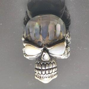 Skull 925 Sterling Silver Ring Skull Mother of Pearl Inlay Biker Rocker Goth Punk