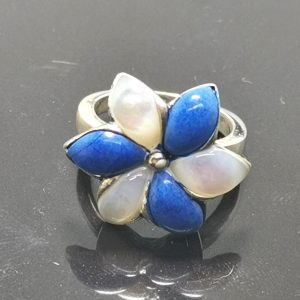 925 Sterling Silver Flower Lapis Lazuli Mother of Pearl Inlay Ring