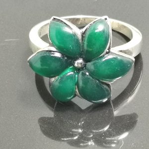 925 Sterling Silver Green Agate Flower Ring Eliz